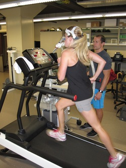 Girl on treadmill during VO2max test
