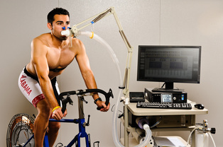 Man on bike during VO2max test